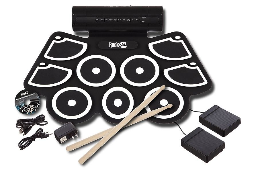 RockJam Electronic Roll Up MIDI Drum On White Background