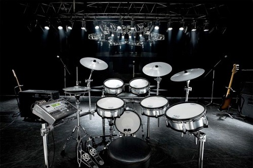 Electric drum set on the stage